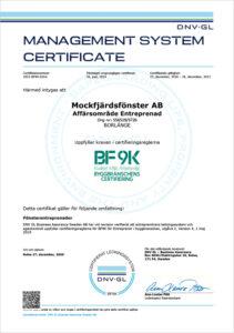 Mockfjärdsfönster AB / Certifikat BF9K